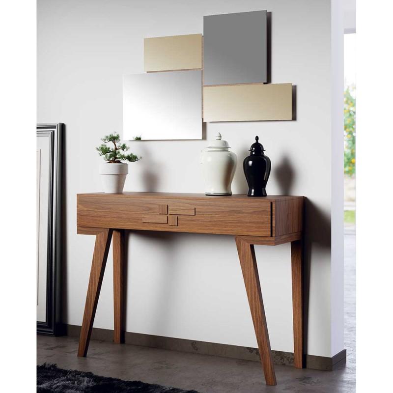 Consolle e specchiera legno\