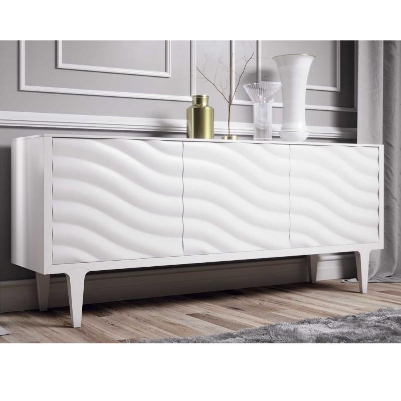 Madia monza credenza 3 ante onda in legno laccato bianco for Design vendita on line
