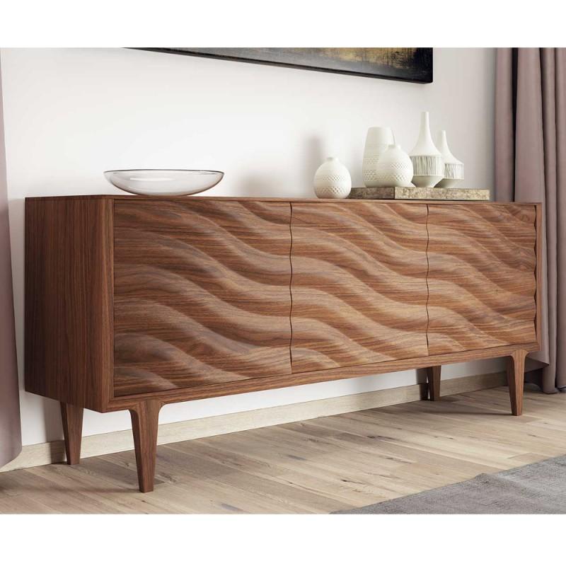 Credenza madia milano 3 ante onda 100 legno vednita for Design vendita on line