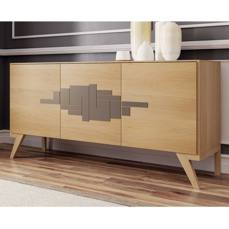 Madia treviso credenza 3 ante 100 legno noce naturale for Mobili design outlet on line